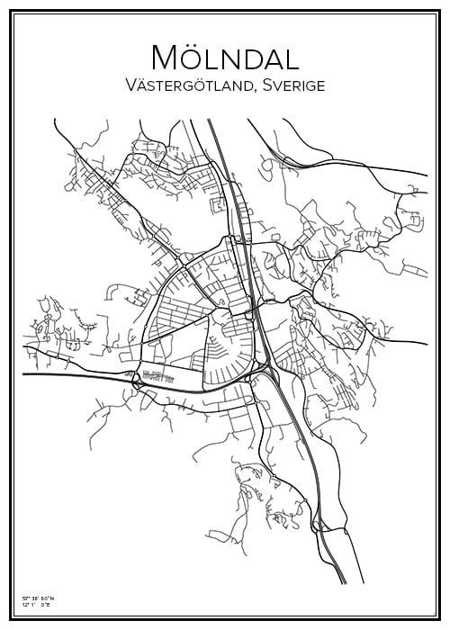 Stadskarta över Mölndal