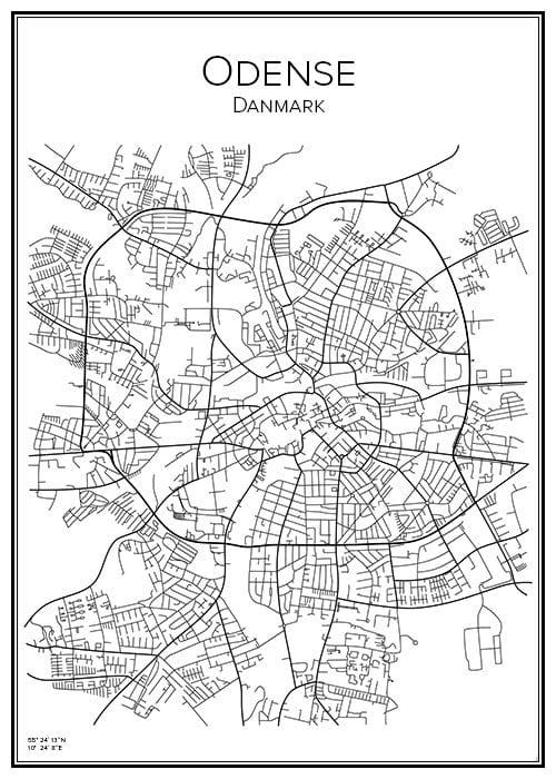 Stadskarta över Odense
