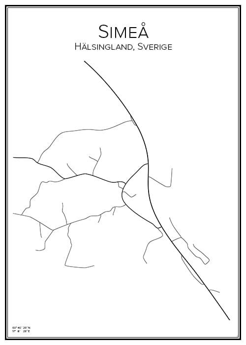 Stadskarta över Simeå