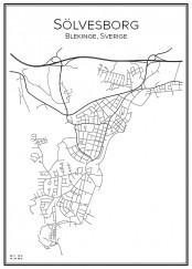 Stadskarta över Sölvesborg