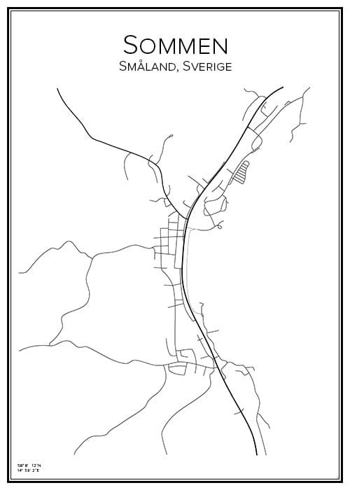 Stadskarta över Sommen