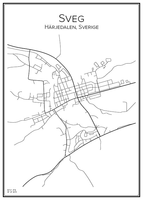 Stadskarta över Sveg