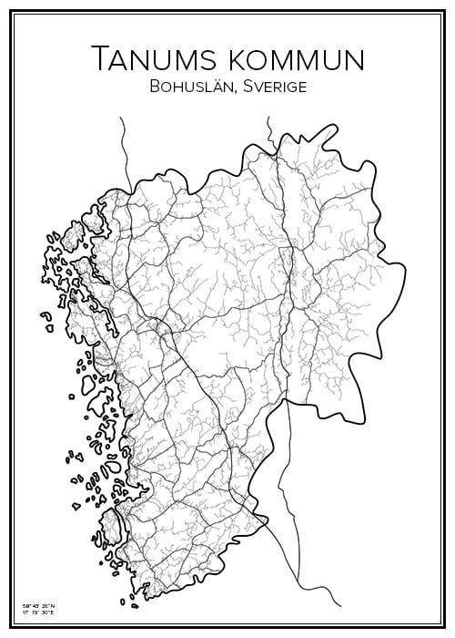 Stadskarta över Tanums kommun