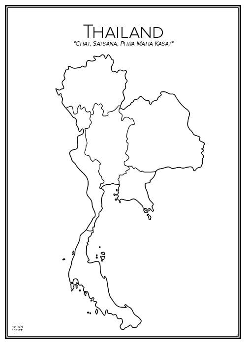 Stadskarta över Thailand