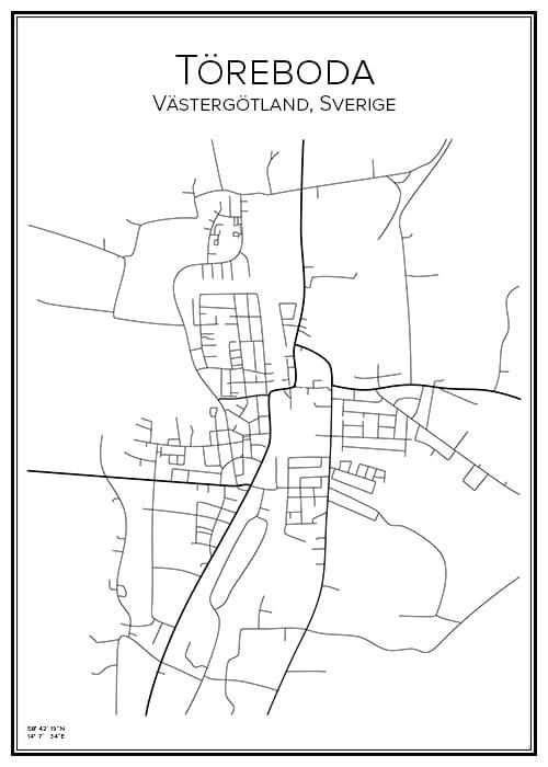 Stadskarta över Töreboda