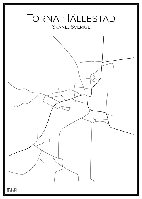 Stadskarta över Torna Hällestad
