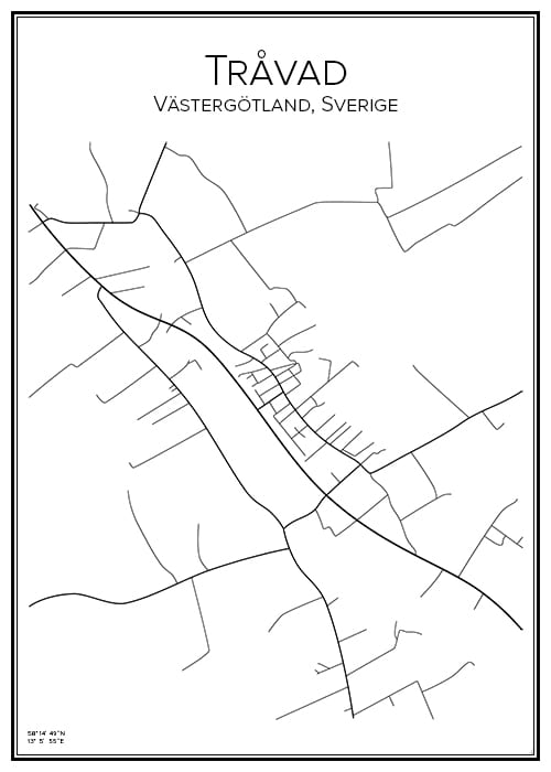Stadskarta över Tråvad