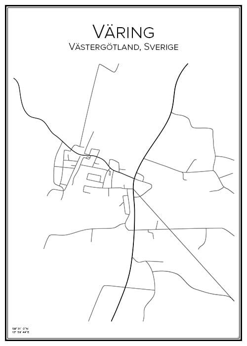 Stadskarta över Väring
