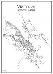 Stadskarta över Västervik