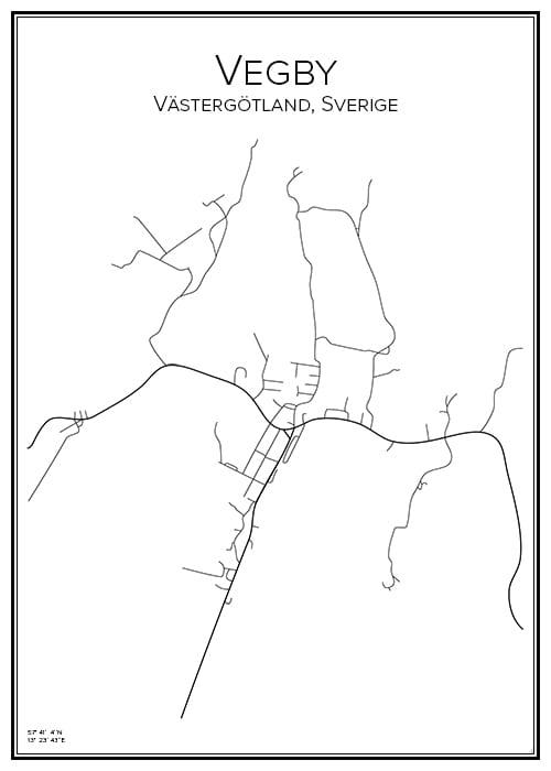 Stadskarta över Vegby