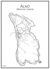 Stadskarta över Alnö