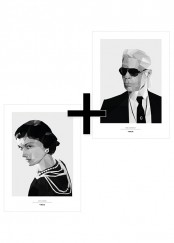 Två affischer - Coco Chanel och Karl Lagerfeld