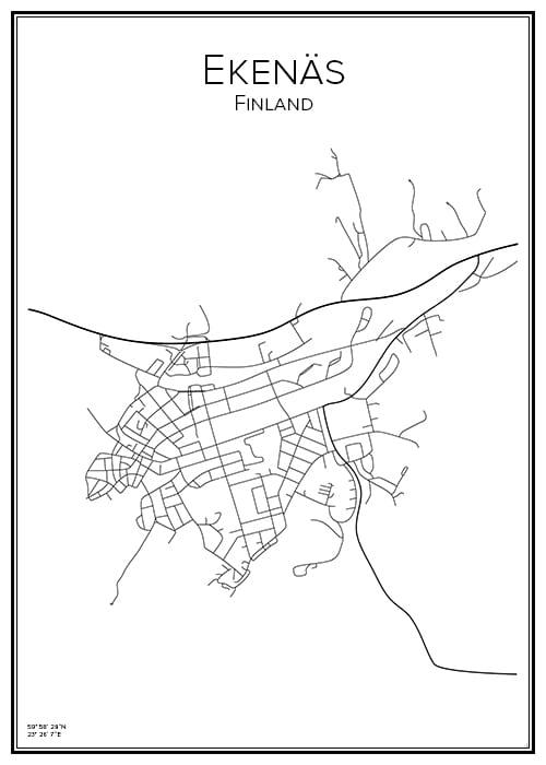 Stadskarta över Ekenäs