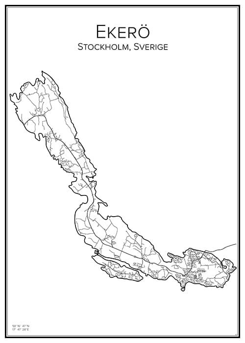 Stadskarta över Ekerö