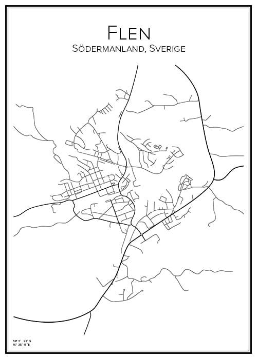 Stadskarta över Flen