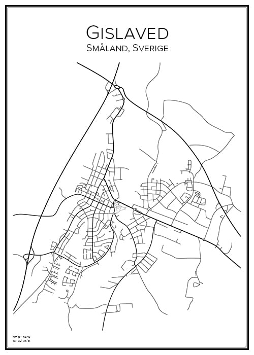 Stadskarta över Gislaved