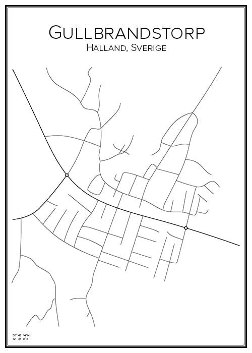 Stadskarta över Gullbrandstorp