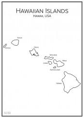 Stadskarta över Hawaiiöarna