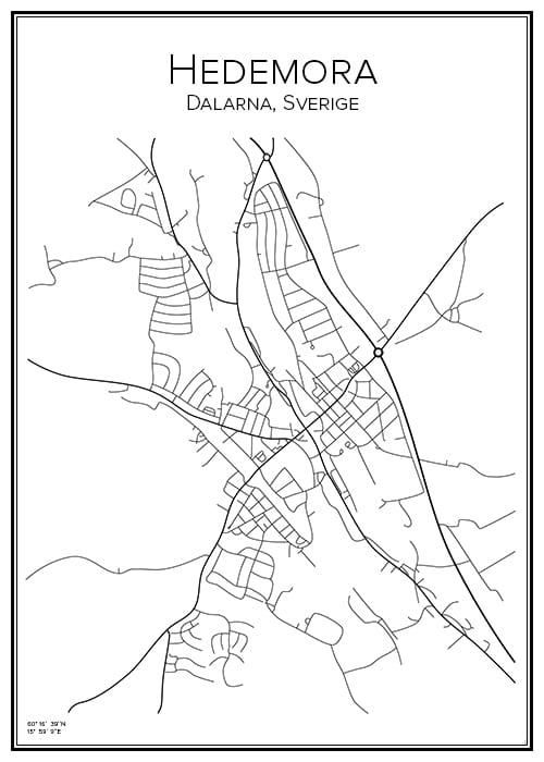 Stadskarta över Hedemora