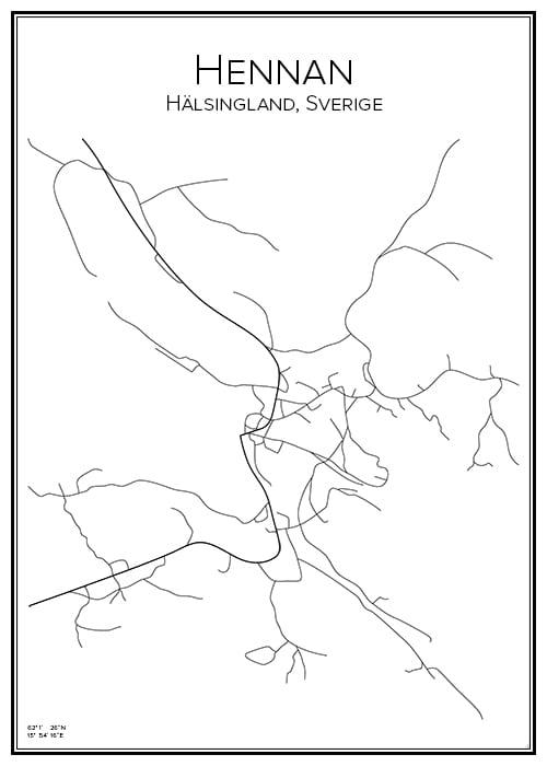 Stadskarta över Hennan