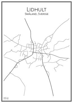 Stadskarta över Lidhult
