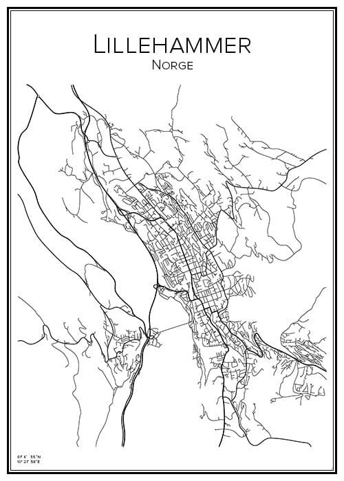 Stadskarta över Lillehammer
