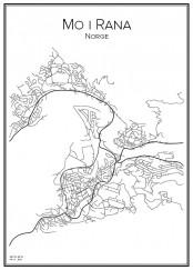 Stadskarta över Mo i Rana