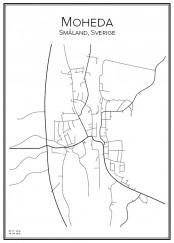 Stadskarta över Moheda