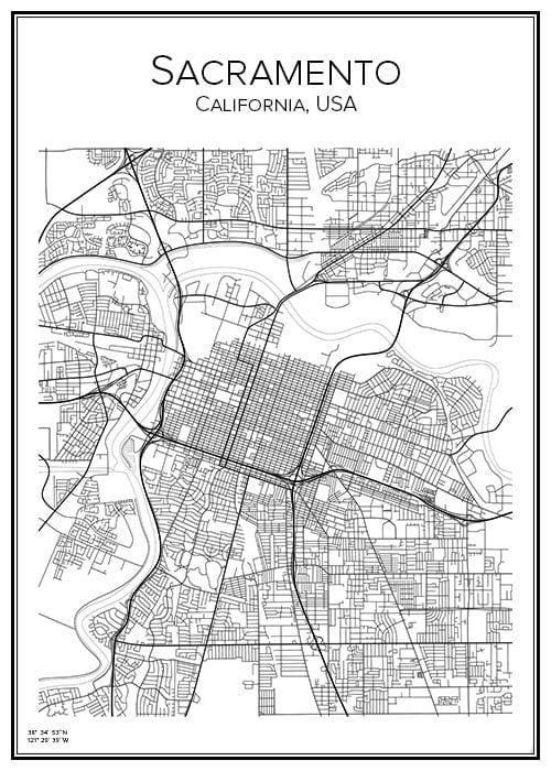 Stadskarta över Sacramento