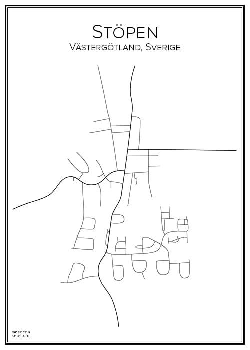 Stadskarta över Stöpen