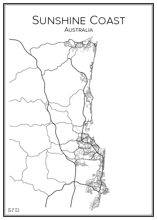Stadskarta över Sunshine Coast