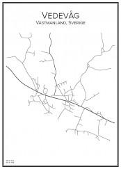 Stadskarta över Vedevåg