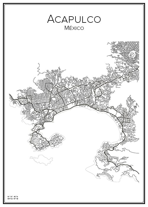 Stadskarta över Acapulco