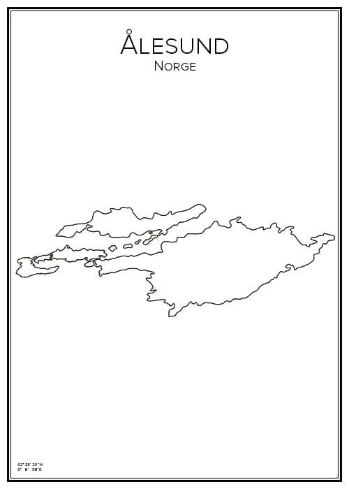 Stadskarta över Ålesund