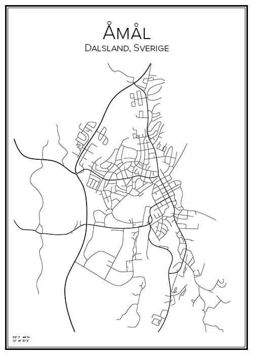 Stadskarta över Åmål