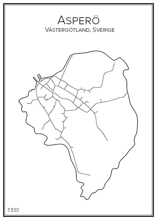 Stadskarta över Asperö