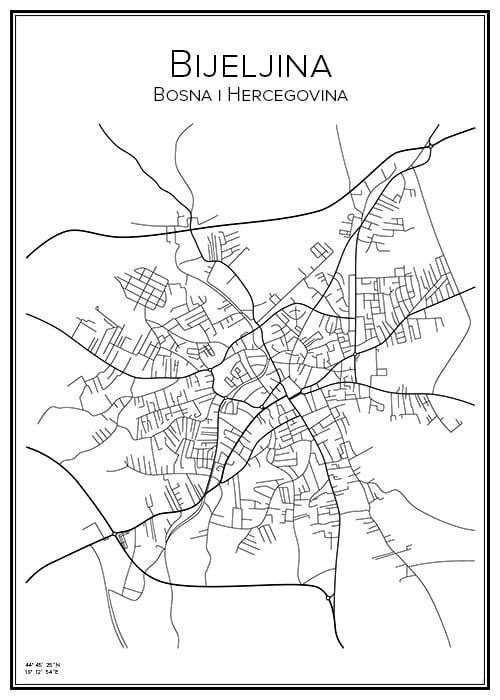 Stadskarta över Bijeljina