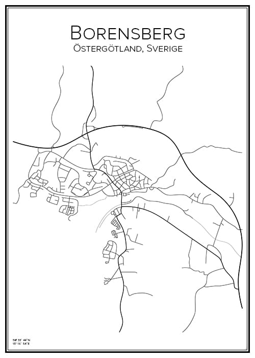 Stadskarta över Borensberg