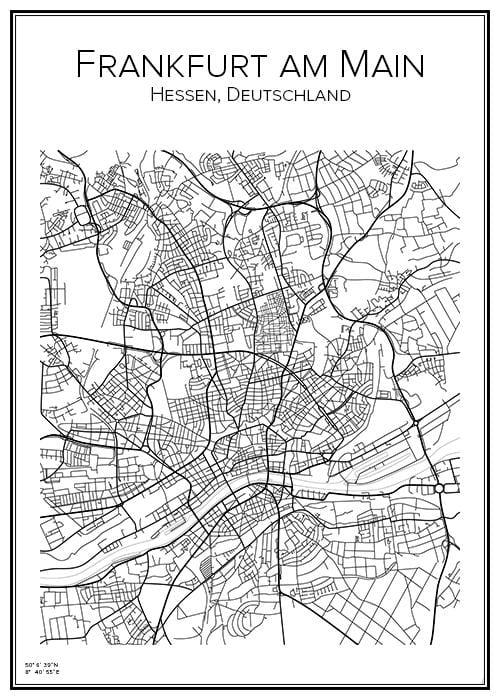 Stadskarta över Frankfurt am Main