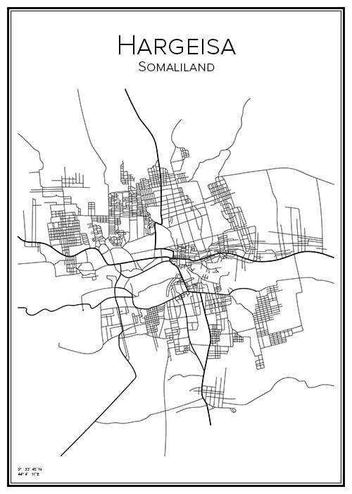 Stadskarta över Hargeisa