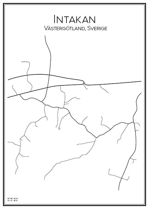 Stadskarta över Intakan