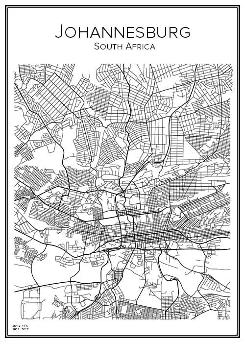 Stadskarta över Johannesburg