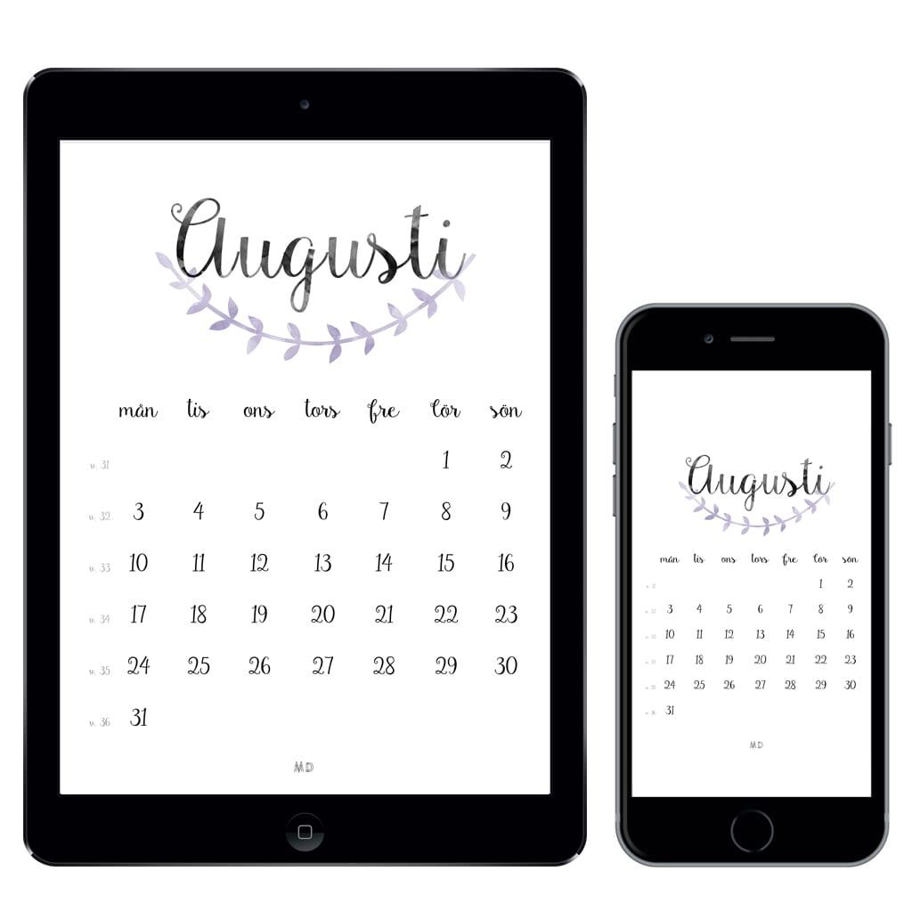 Kalender för augusti