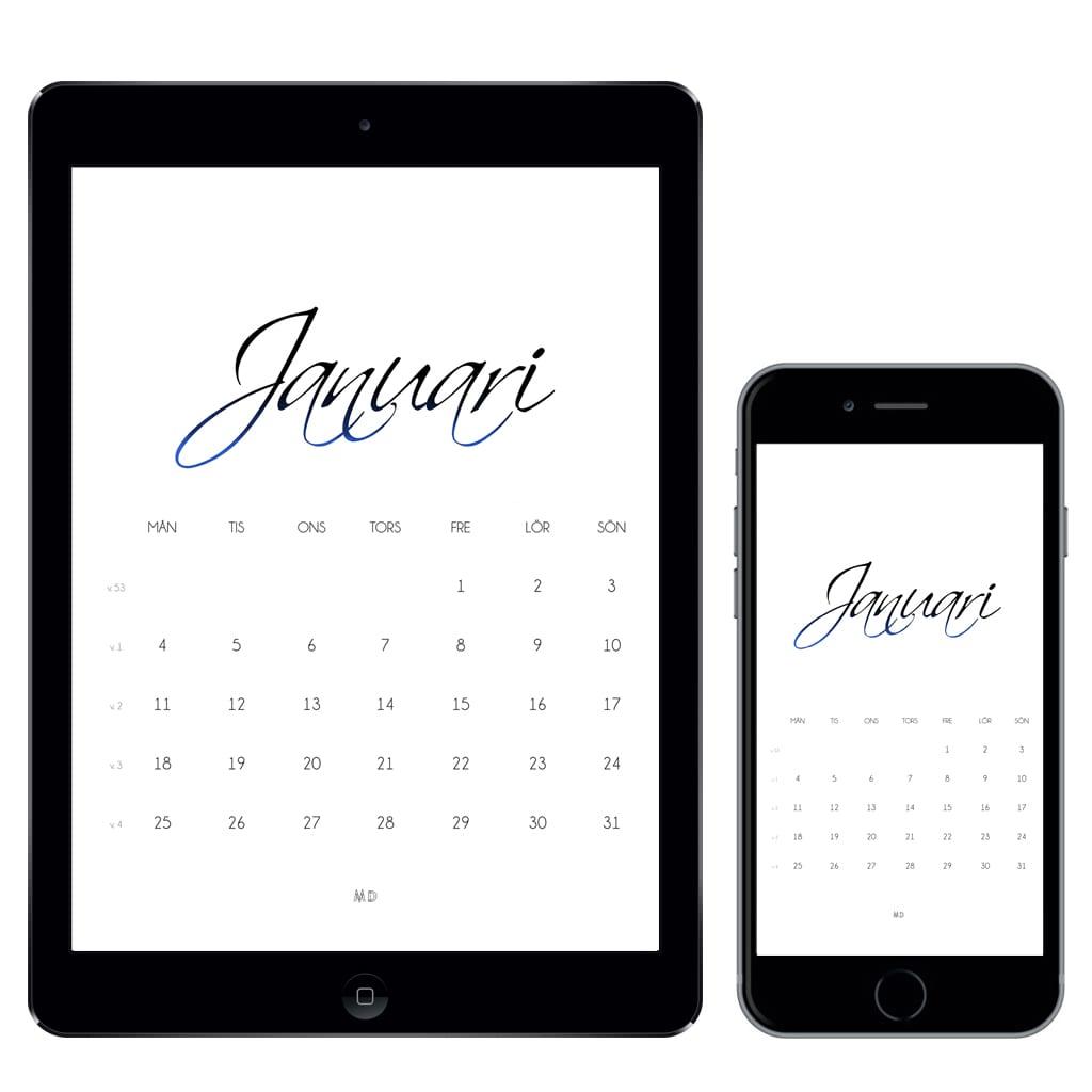 Kalender för januari