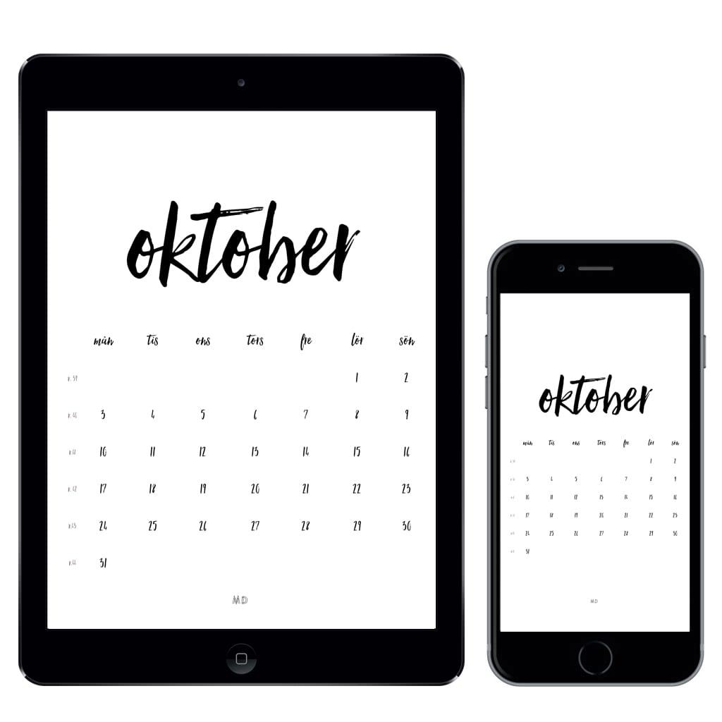 Kalender för oktober