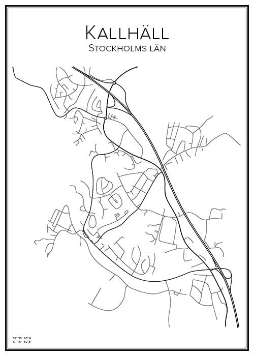 Stadskarta över Kallhäll