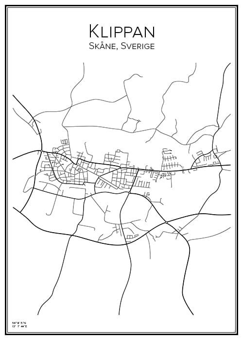 Stadskarta över Klippan