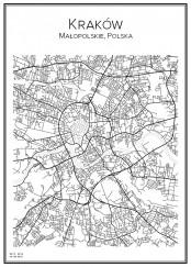 Stadskarta över Kraków