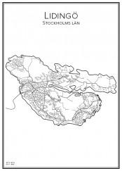 Stadskarta över Lidingö