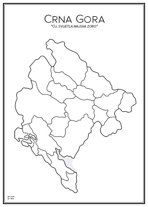Stadskarta över Montenegro